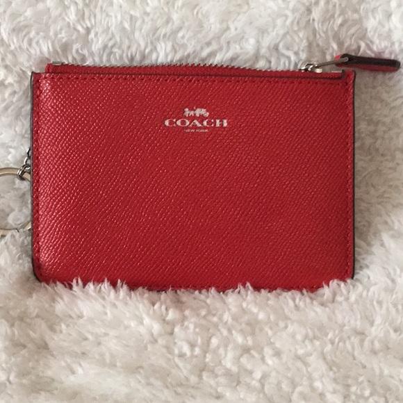 NWT Coach red keychain coin card pouch